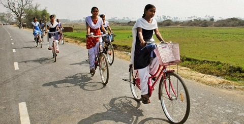 Universal Cycle Club - school students are riding bicycles for their daily travelling routine.